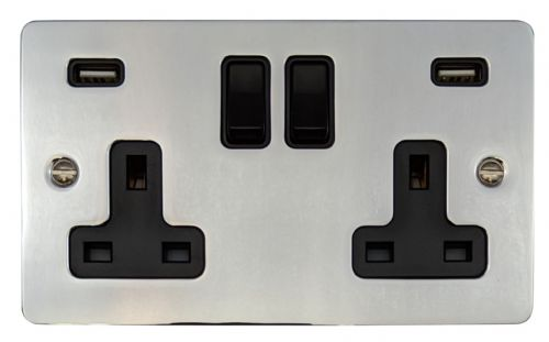 G&H FC910B Flat Plate Polished Chrome 2 Gang Double 13A Switched Plug Socket 2.1A USB